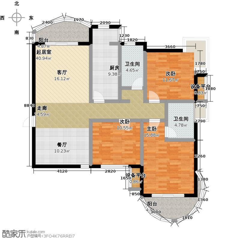 天马相城127.60㎡三期11#户型3室2厅2卫