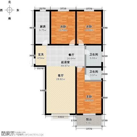锦绣城3室0厅2卫1厨142.00㎡户型图