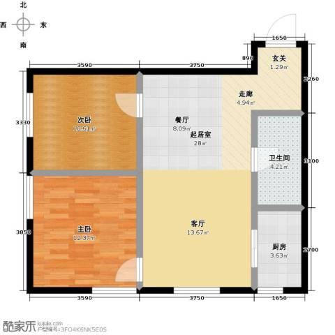 莫比国际2室0厅1卫1厨90.00㎡户型图