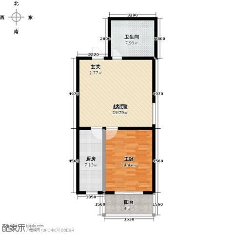 锦绣城1室0厅1卫1厨66.00㎡户型图