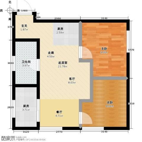 莫比国际2室0厅1卫1厨75.00㎡户型图