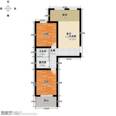 尚品名城2室0厅1卫0厨90.00㎡户型图