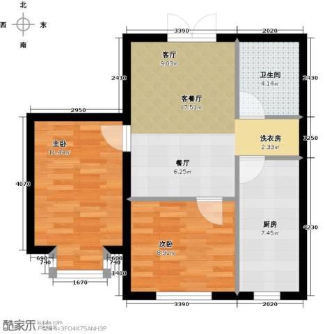青青学邻2室1厅1卫1厨70.00㎡户型图