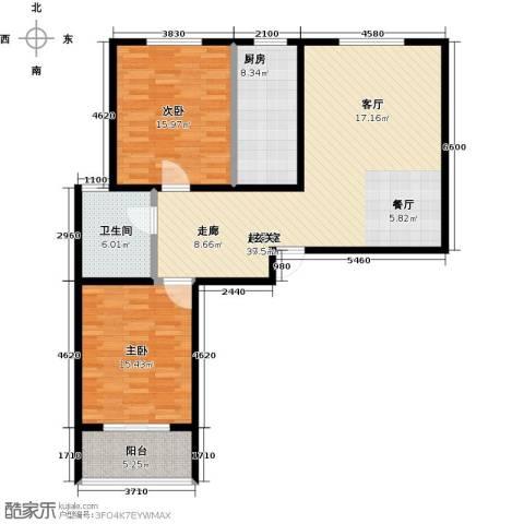 锦绣城2室0厅1卫1厨101.00㎡户型图