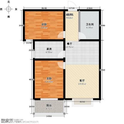 锦绣城2室0厅1卫1厨87.00㎡户型图