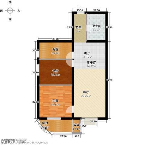 大唐盛苑2室1厅1卫1厨86.00㎡户型图