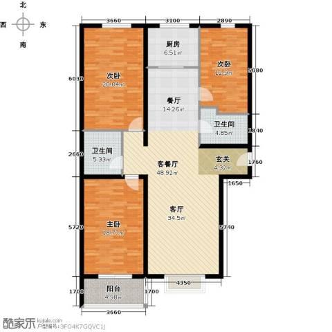 大唐盛苑3室1厅2卫1厨136.00㎡户型图