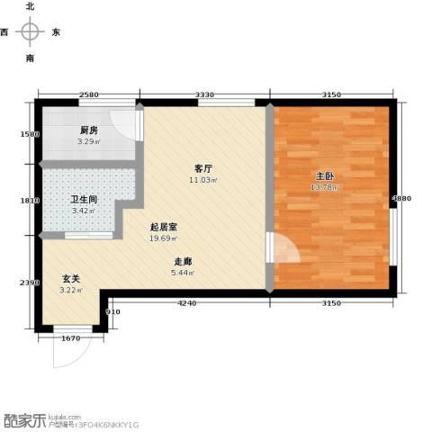 莫比国际1室0厅1卫1厨61.00㎡户型图