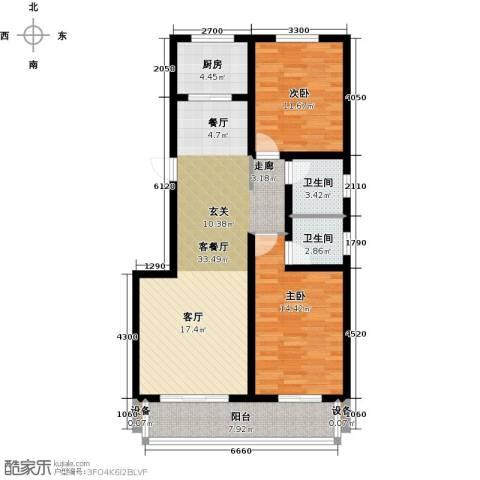 孔雀城2室1厅2卫1厨108.00㎡户型图