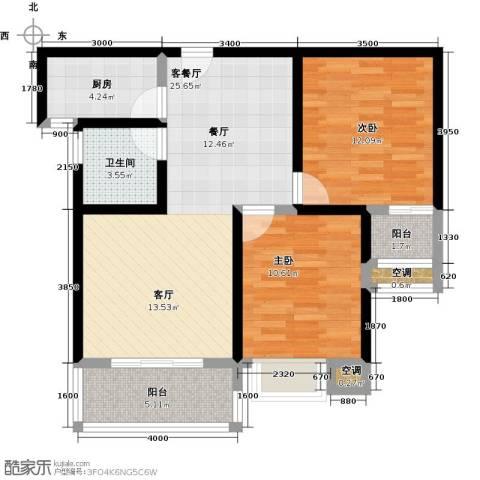 龙泉・华庭2室1厅1卫1厨83.00㎡户型图
