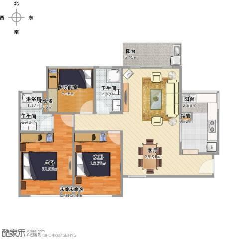 金地朗悦2室1厅2卫1厨104.00㎡户型图