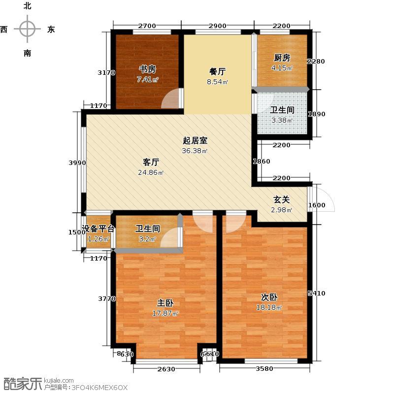 山水家园111.14㎡A1户型3室2厅1卫