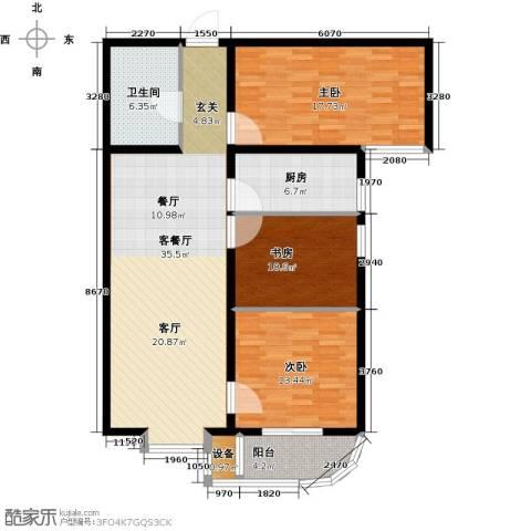 大唐盛苑3室1厅1卫1厨108.00㎡户型图