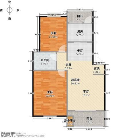 喜利达名苑2室0厅1卫1厨111.00㎡户型图