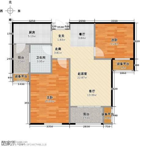 邦泰中央花城2室0厅1卫1厨72.00㎡户型图