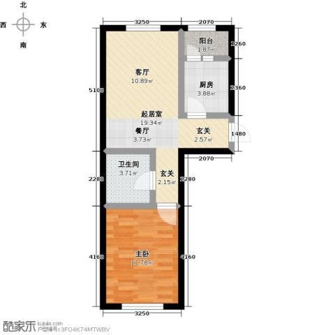 哈东上城1室0厅1卫1厨56.00㎡户型图