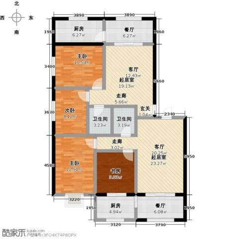 金坤新城花苑4室2厅2卫2厨166.00㎡户型图