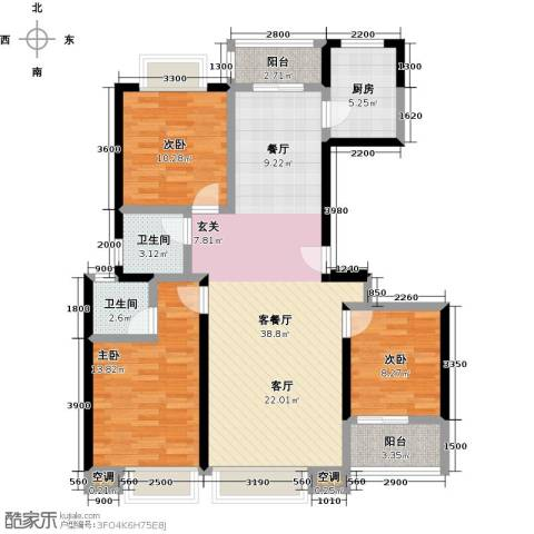 龙泉・华庭3室1厅2卫1厨117.00㎡户型图