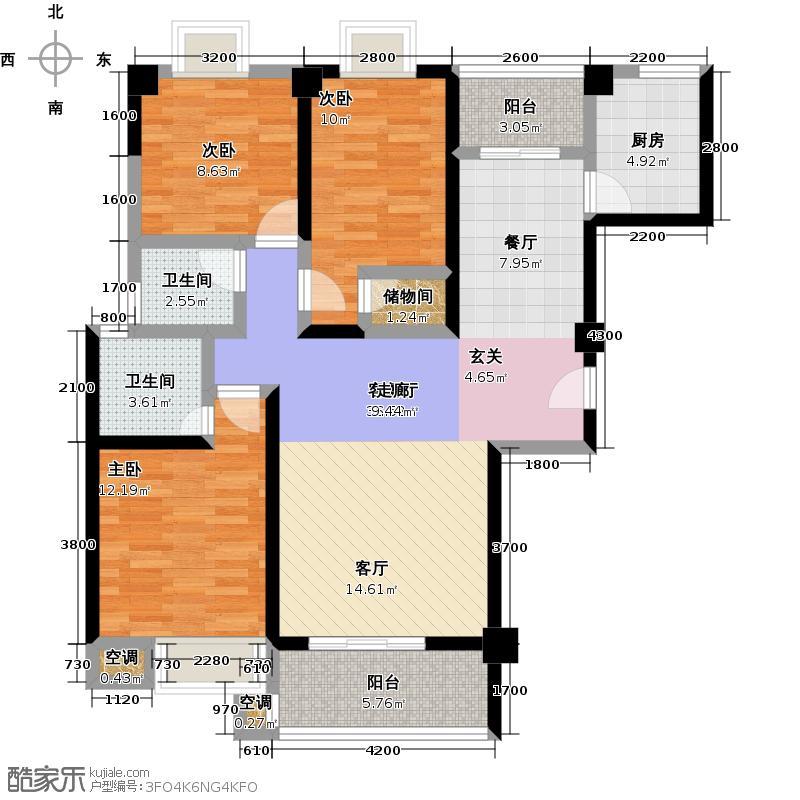龙泉华庭111.13㎡B4户型3室2厅2卫