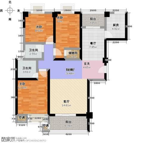 龙泉・华庭3室1厅2卫1厨111.00㎡户型图