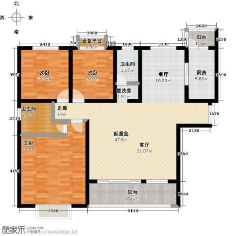 中原国际时代皇庭3室0厅2卫1厨130.00㎡户型图