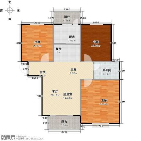 泰和世家3室0厅1卫1厨128.00㎡户型图