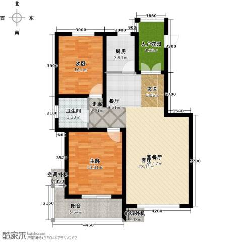 海韵星城2室1厅1卫1厨86.66㎡户型图