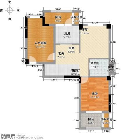 时代华府1室1厅1卫1厨76.00㎡户型图