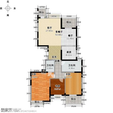 海琴湾3室1厅2卫1厨154.00㎡户型图
