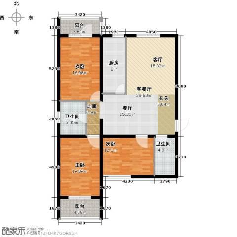 大唐盛苑3室1厅2卫1厨124.00㎡户型图