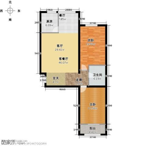 大唐盛苑2室1厅1卫1厨110.00㎡户型图