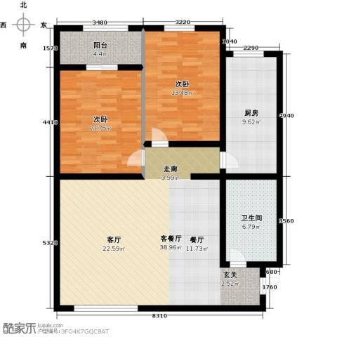 大唐盛苑2室1厅1卫1厨99.00㎡户型图