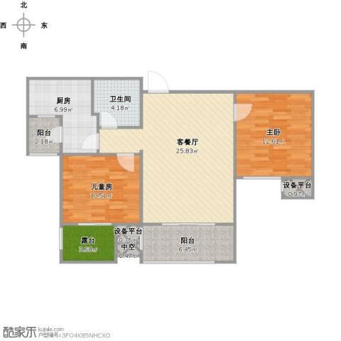 天房翠海红山2室1厅1卫1厨102.00㎡户型图