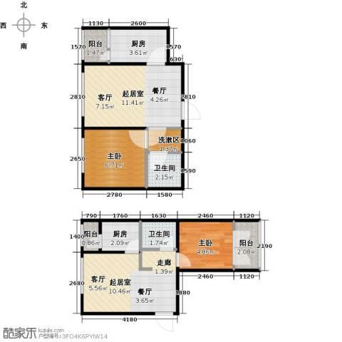 滨才城2室0厅2卫2厨68.00㎡户型图