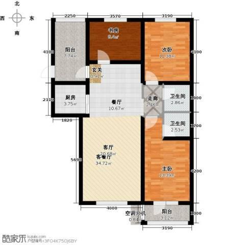 海韵星城3室1厅2卫1厨100.97㎡户型图