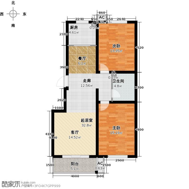 古营金景5#B户型两室两厅一卫户型2室2厅1卫
