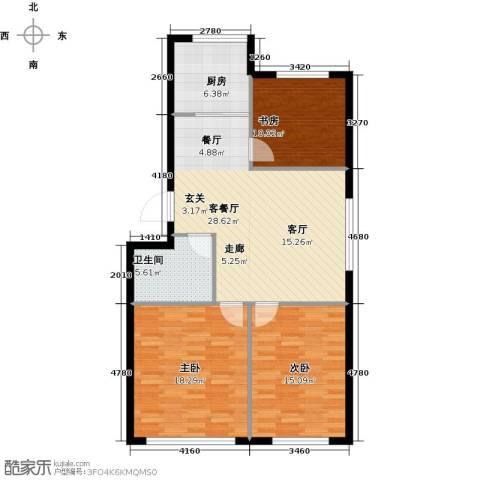 沈阳绿色家园3室1厅1卫1厨92.00㎡户型图