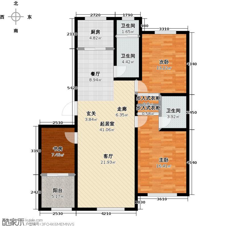 山水家园134.82㎡B2户型3室2厅1卫