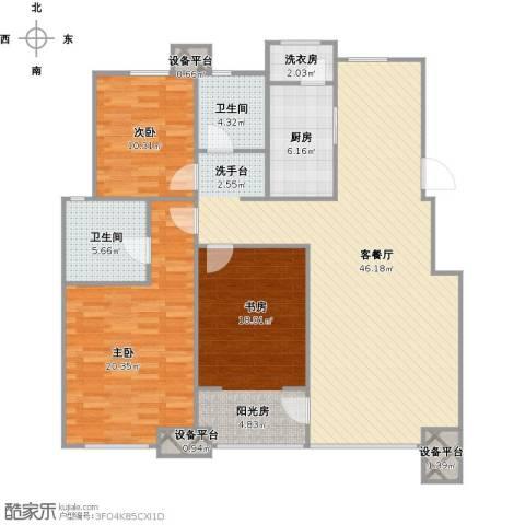 亚泰津澜3室1厅2卫1厨156.00㎡户型图