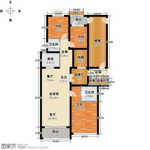 鲁商中心3室0厅2卫1厨142.00㎡户型图