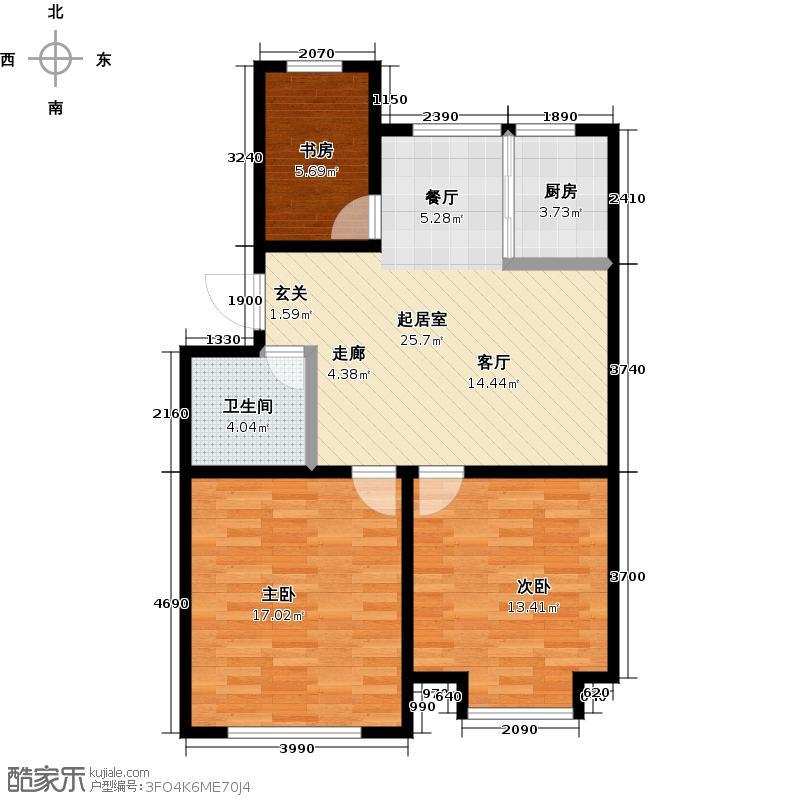 山水家园110.15㎡C3户型3室2厅1卫