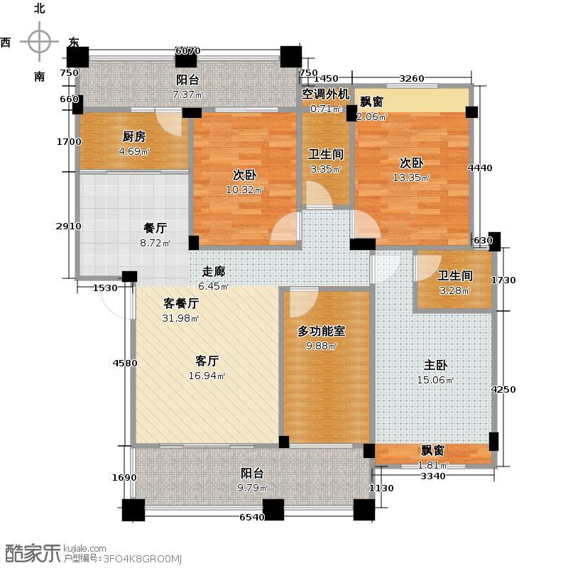 碧园海语城120.00㎡3+1房户型3室2厅2卫