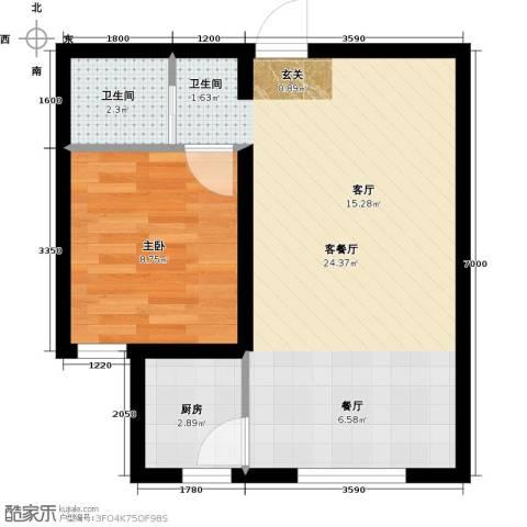 海韵星城1室1厅1卫1厨43.61㎡户型图