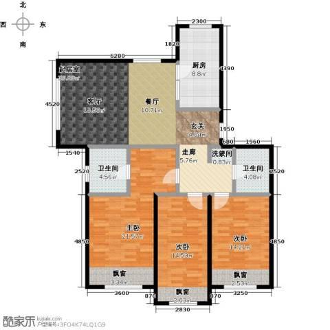 哈东城市公元3室0厅2卫1厨121.00㎡户型图