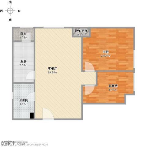 瞰海品筑2室1厅1卫1厨88.00㎡户型图