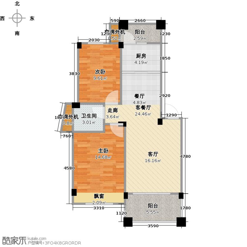 碧园海语城72.00㎡7-1-02户型2室2厅1卫