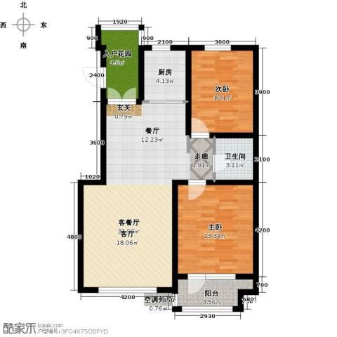 海韵星城2室1厅1卫1厨82.51㎡户型图