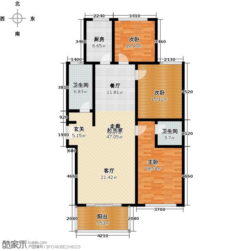 天悦名苑三室两厅两卫126.89平米户型LL