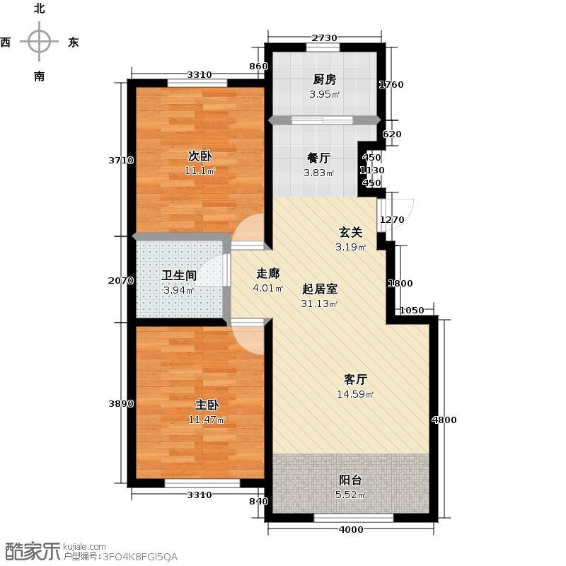 山水家园97.44㎡C2户型2室2厅1卫