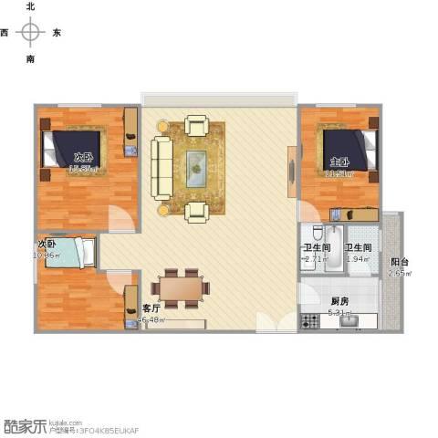 泛华大厦3室1厅2卫1厨129.00㎡户型图